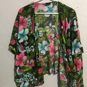 Tops - Women's floral summer beach wrap